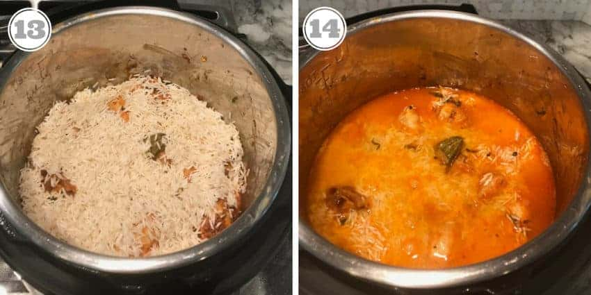 Steps showing rice layered over chicken in the Instant Pot
