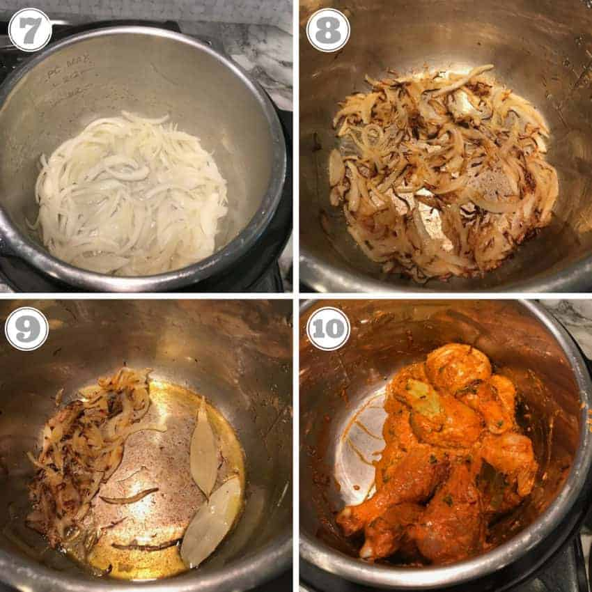 Steps showing caramalizing onions and hwo to deglaze the Instant Pot