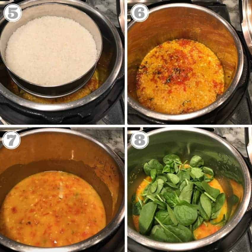 photos showing cooked rice, and adding spinach to cooked dal