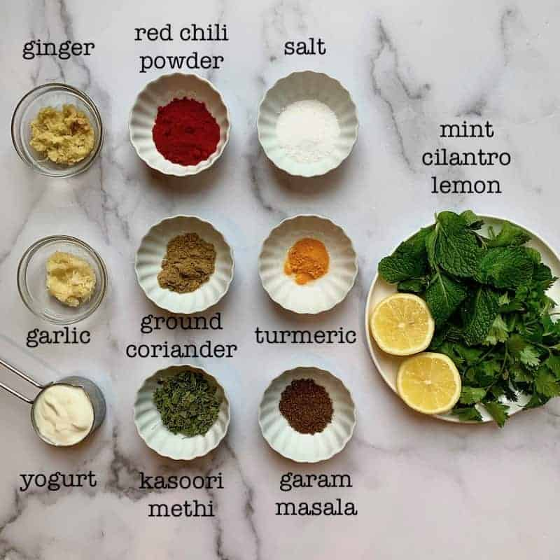Spices and herbs for marinating fish