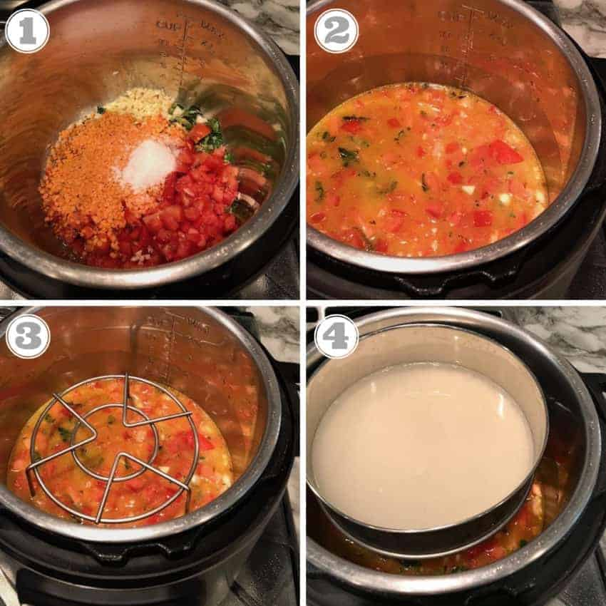 steps showing adding ingredients for Spinach Dal except spinach to the Instant Pot