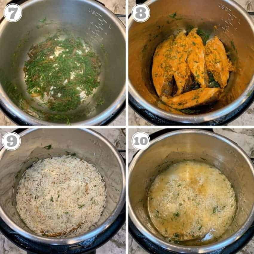 steps showing how to make fish biryani in Instant Pot
