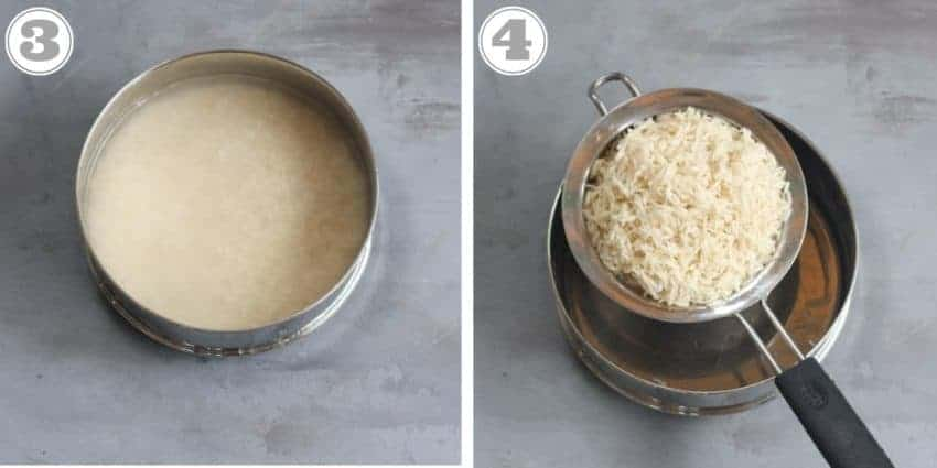steps showing how to soak and drain rice