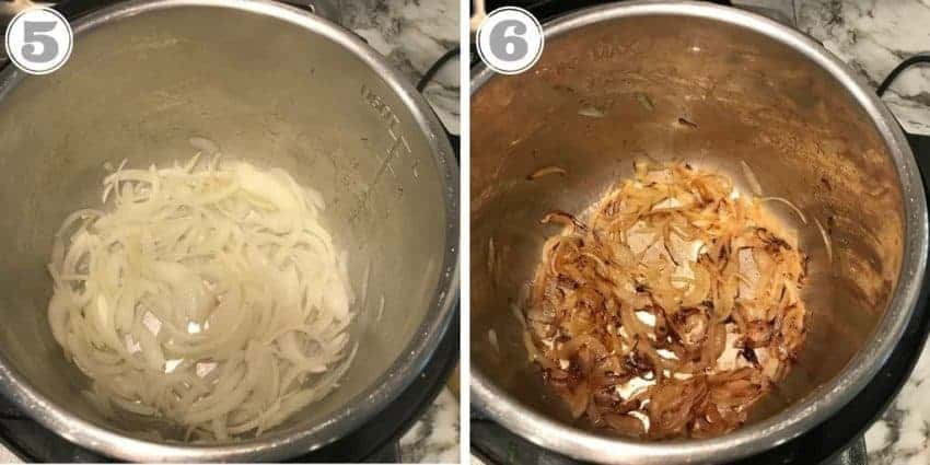 steps showing caramelizing onions