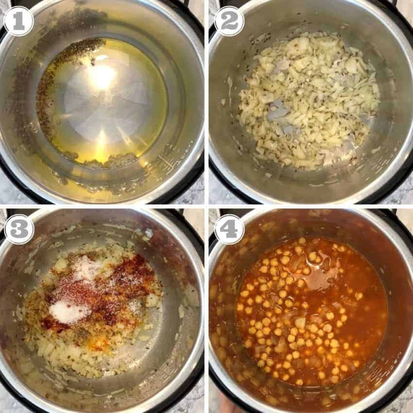 steps showing how to make chana masala in Instant Pot