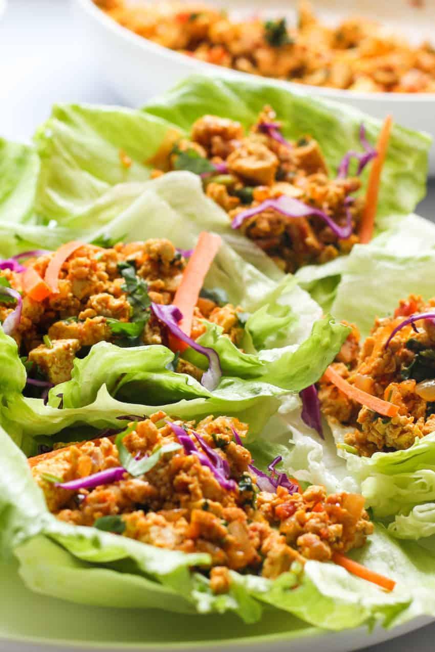 close up of lettuce tofu wraps