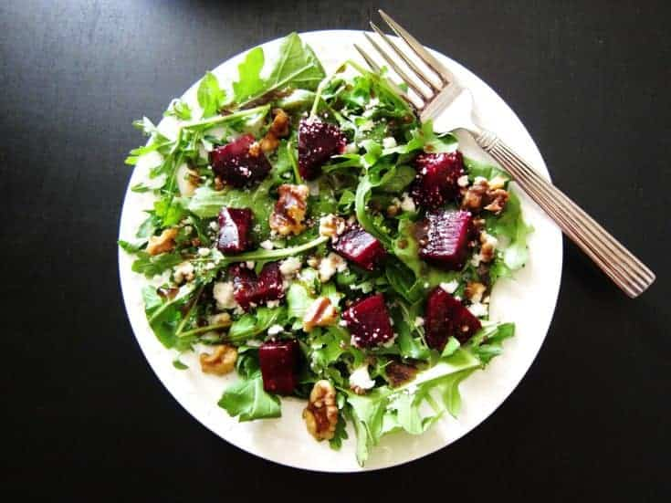 Instant Pot Beet Salad with Arugula, Goat Cheese and Walnuts