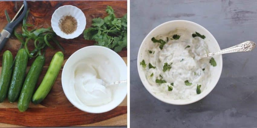 cucumber raita with ingredients.