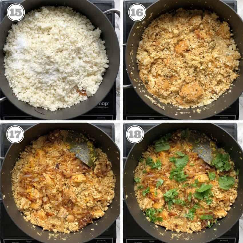 cooking cauliflower rice with chicken
