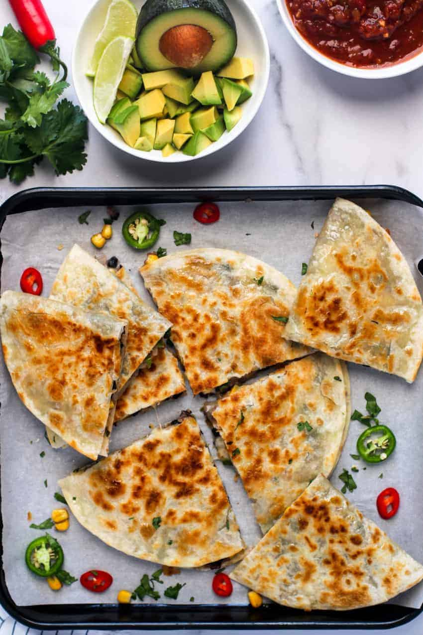 black bean quesadillas served in a baking tray
