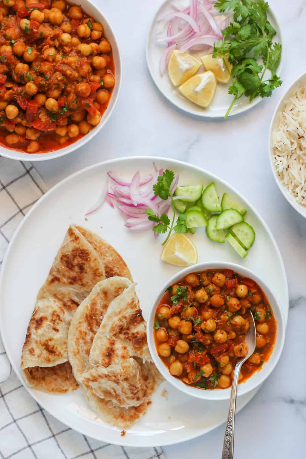 Chana Masala served with parathas