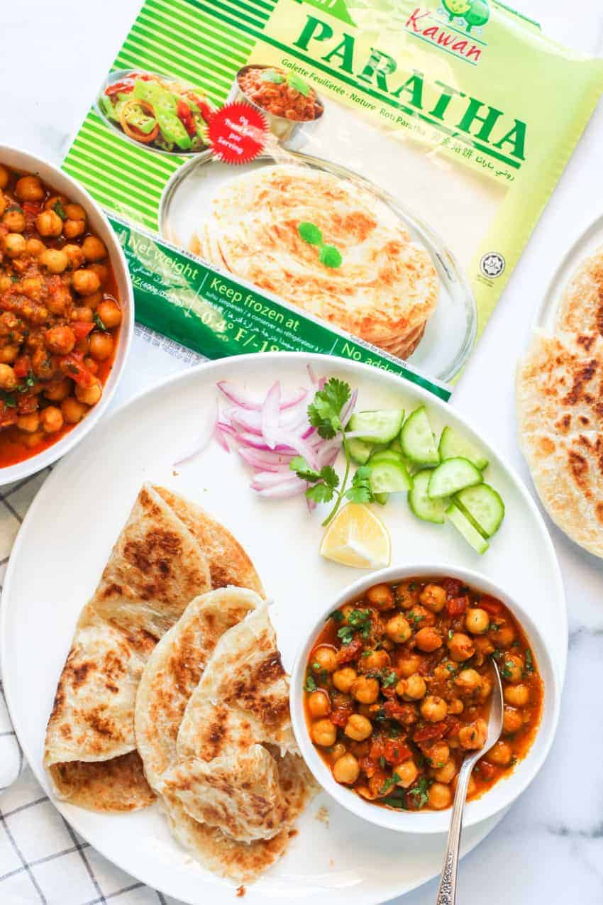Chana Masala served with kawan parathas
