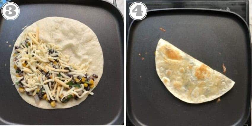 photos showing how to make quesadilla on a griddle