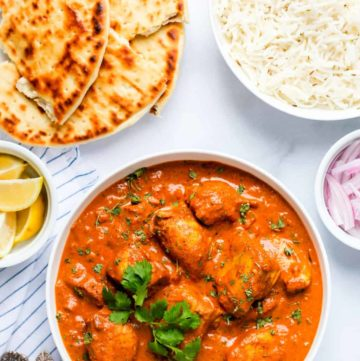 Chicken Tikka Masla served with rice and naan
