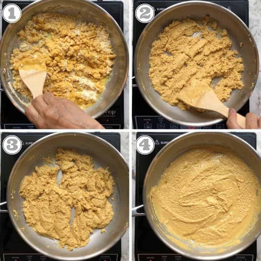 process shots showing how to roast besan with ghee