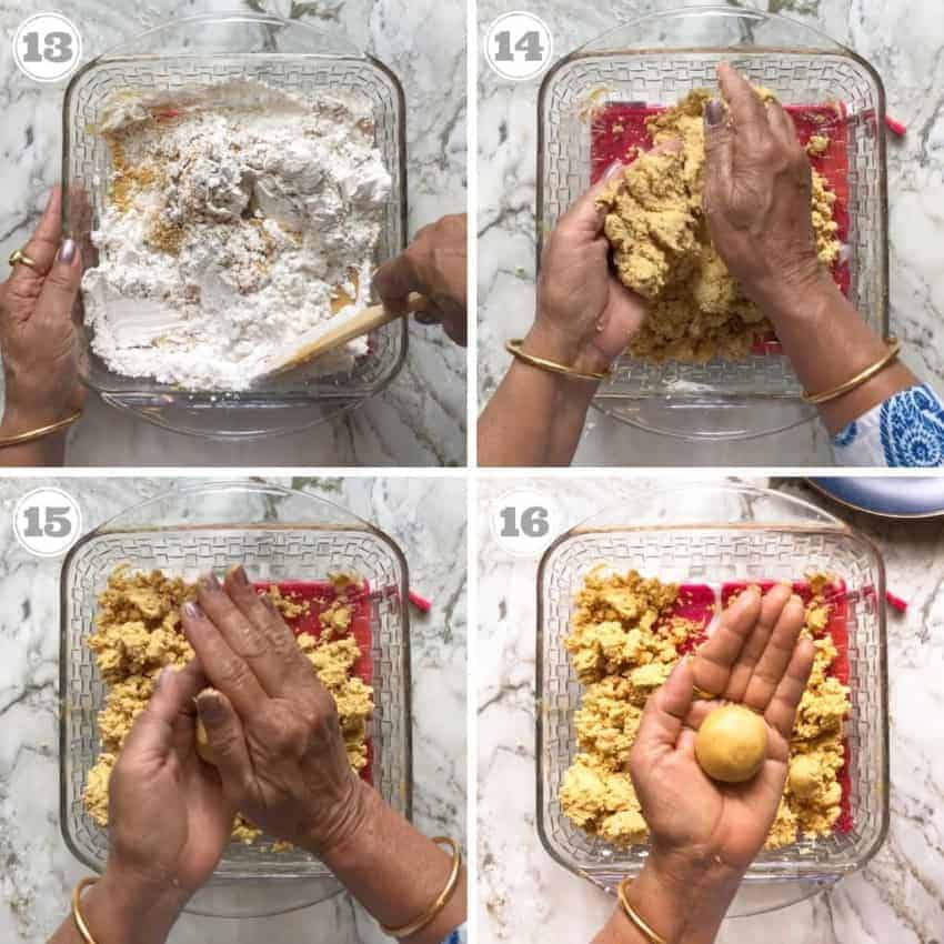 process shots showing how to roll laddu