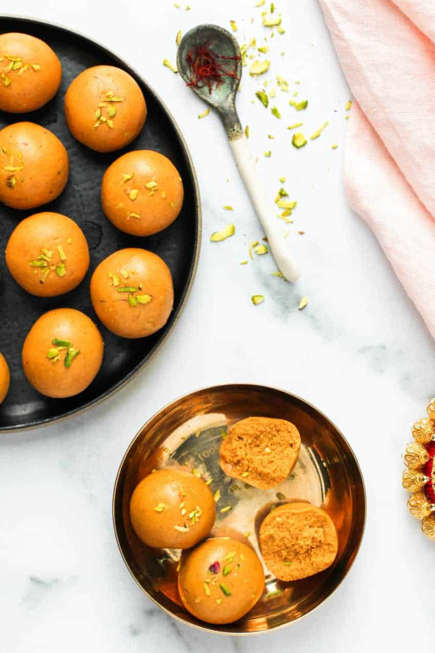 Besan Ladoo in two plates