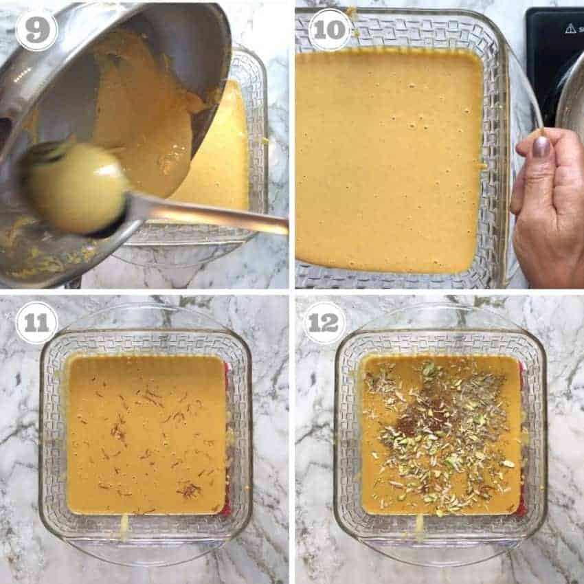 process shots showing roasted flour garnished with saffron and nuts