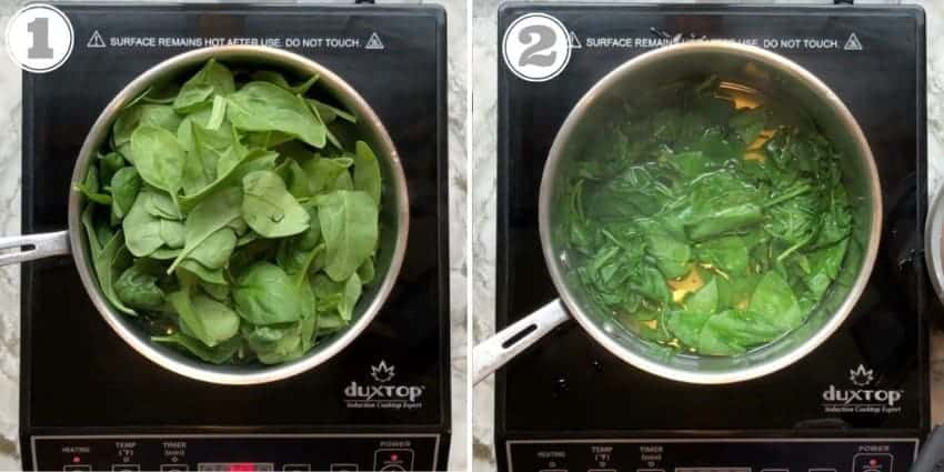 steps 1 to 2 showing how to blanch spinach