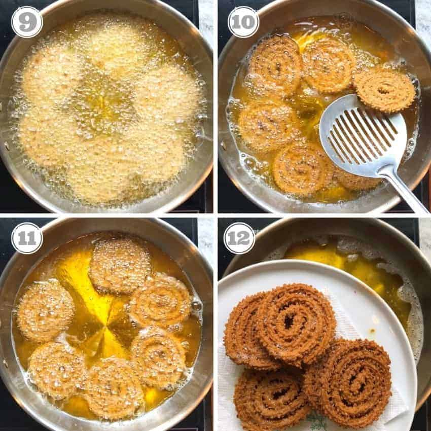 Photos showing how to fry chakli