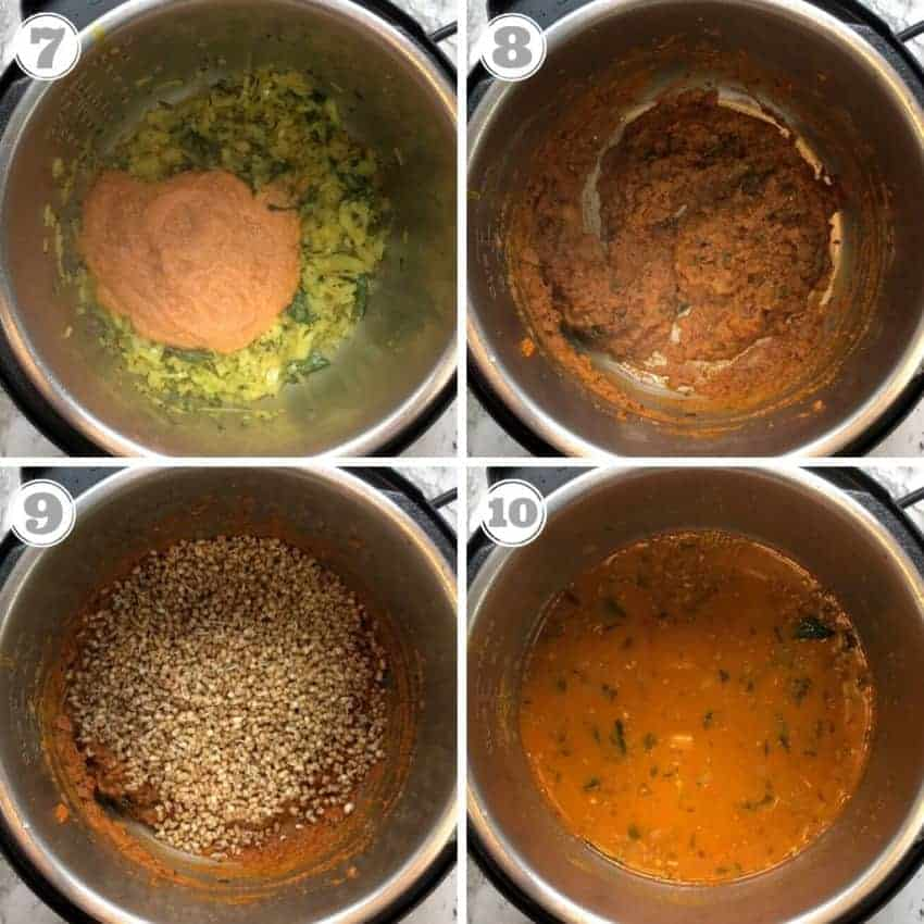 Adding spice paste, sprouts and water to the curry