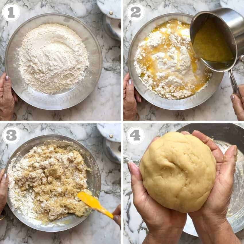 process shots showing how to make shankarpali dough
