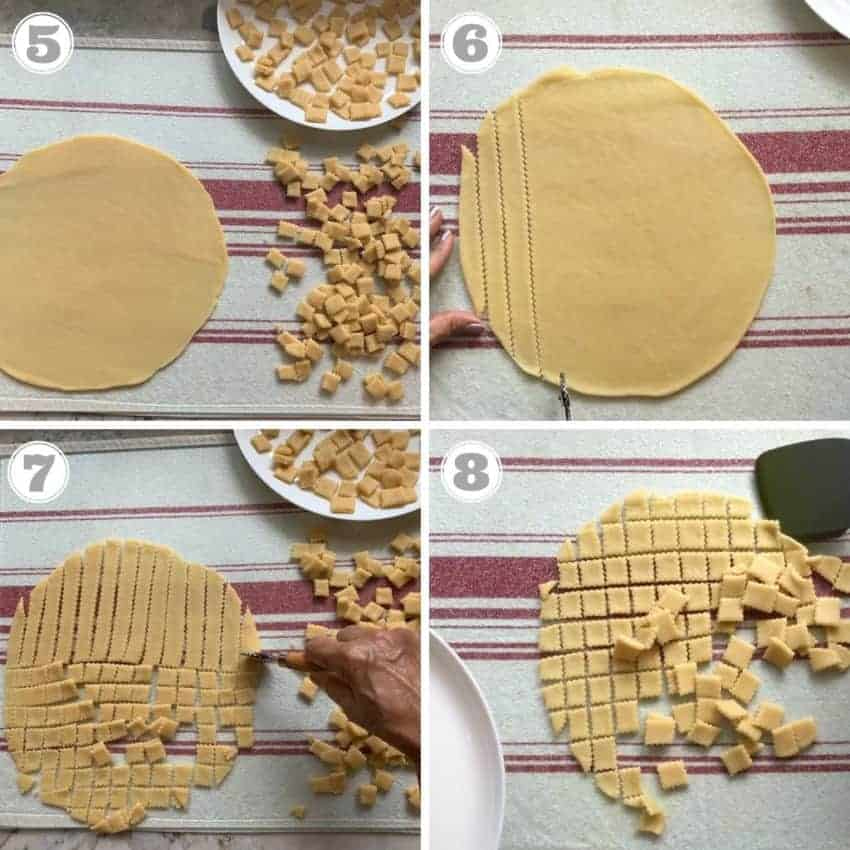 process shots showing how to roll and cut shankarpali