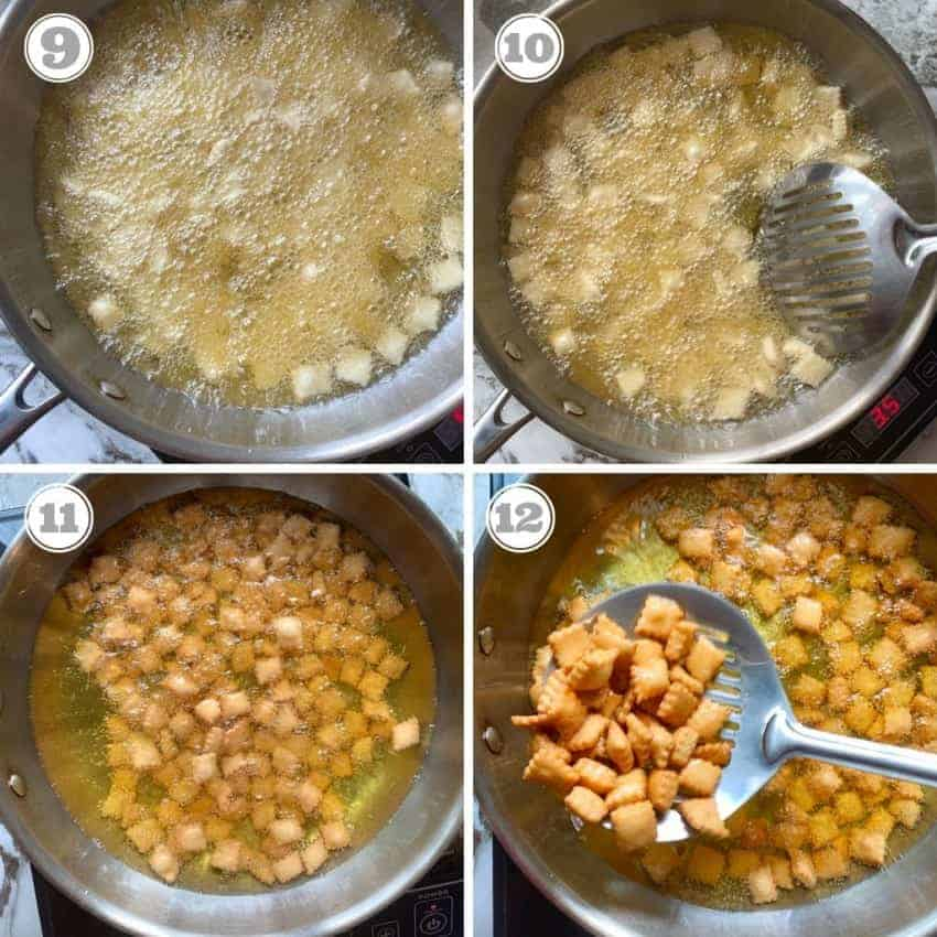 process shots showing how to fry shankarpali