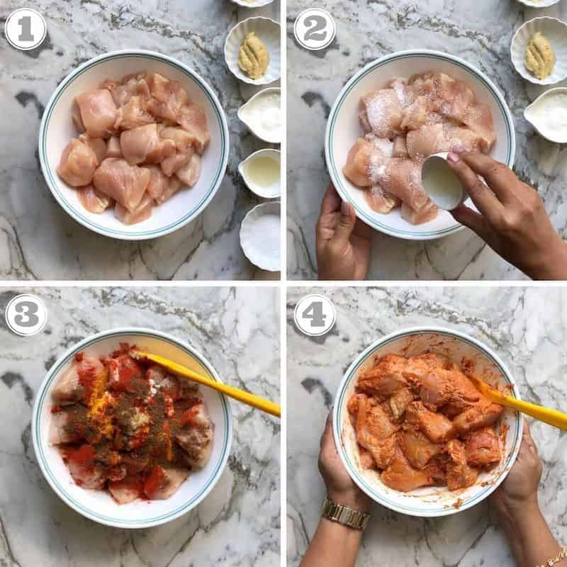 steps showing how to marinate chicken