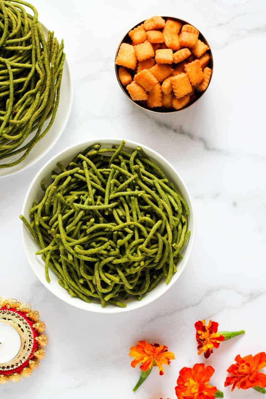 Spinach Sev in 2 bowls with Shankarpali on the side