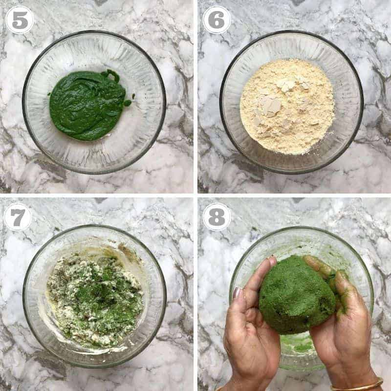 steps 5 to 8 showing how to make dough for sev
