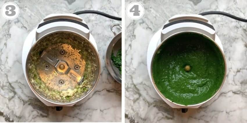 steps 3 to 4 showing freshly ground spices and spinach puree in a blender
