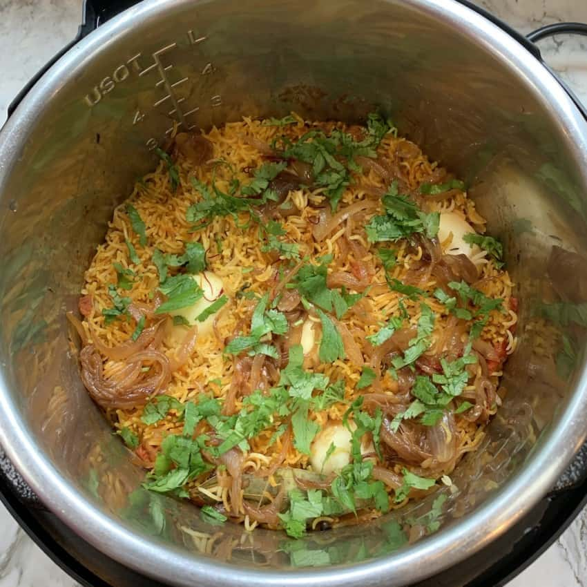 egg biryani in the instant pot