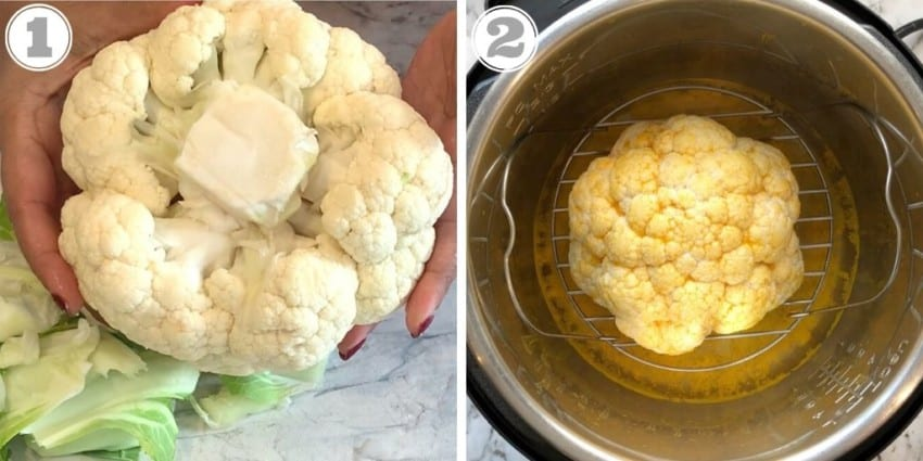 trimmed whole cauliflower ready to steam in the Instant Pot