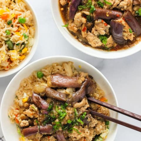 served over brown fried rice
