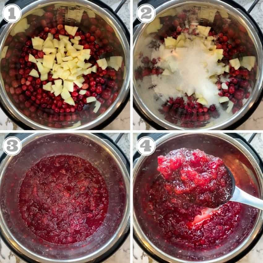 steps showing how to make Instant Pot Cranberry Sauce
