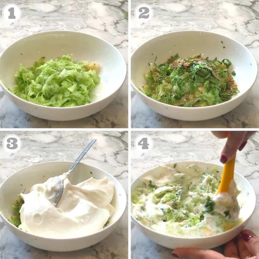 steps showing how to make cucumber raita
