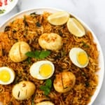 Egg Biryani served in a platter
