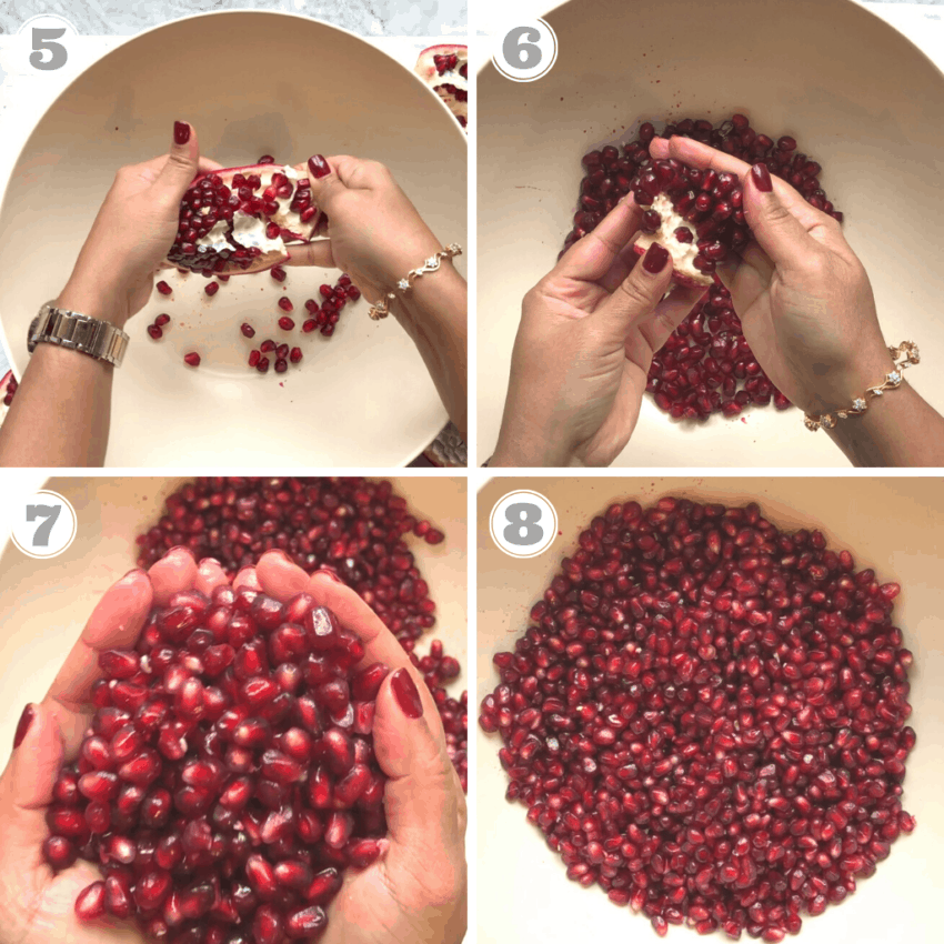 steps five through eight of peeling a pomegranate