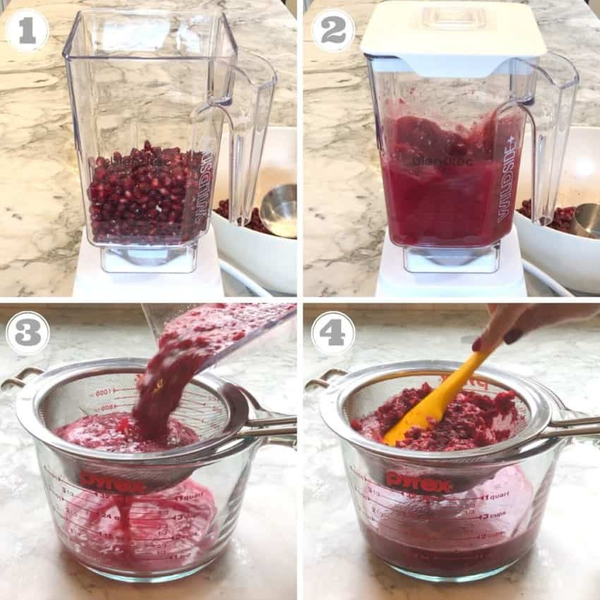 Steps one through four of making pomegranate juice at home