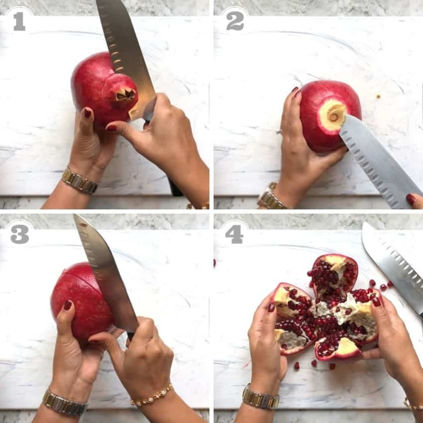 steps one through four of peeling a pomegranate
