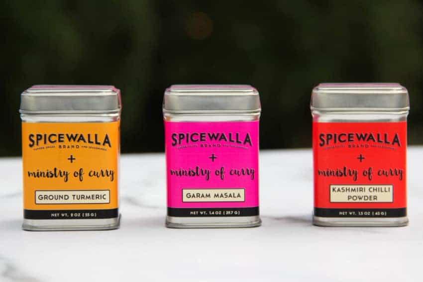 turmeric, garam masala and red chili powder spice tins