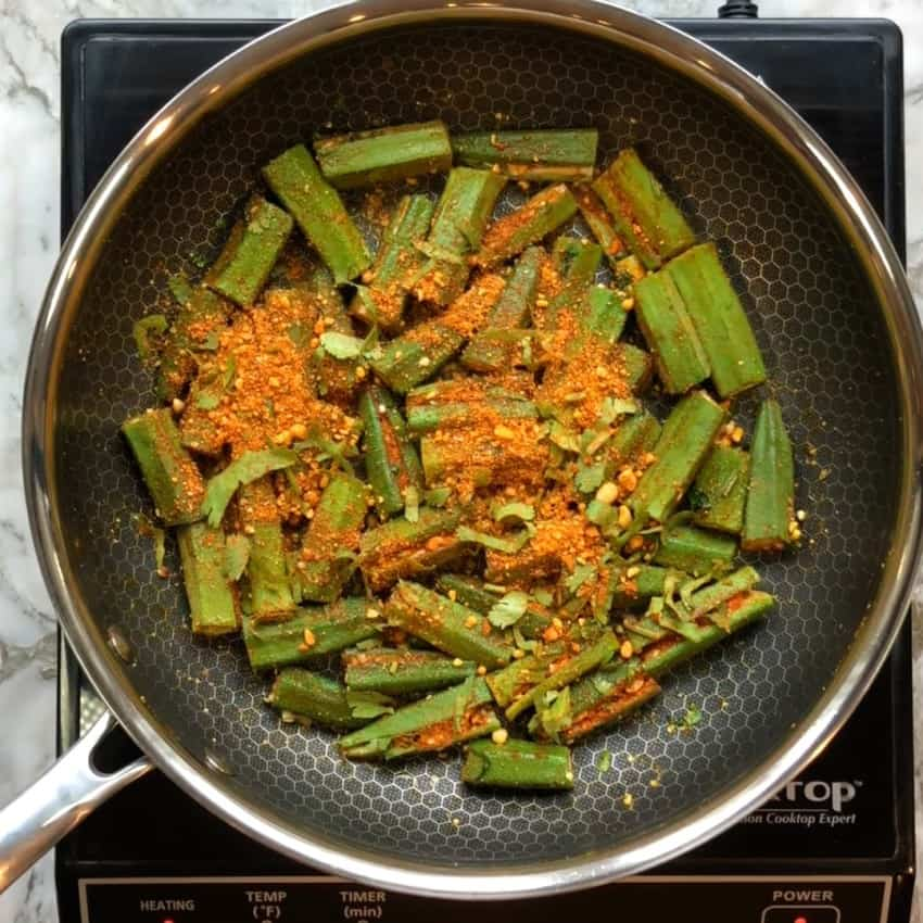 okra in a frying an