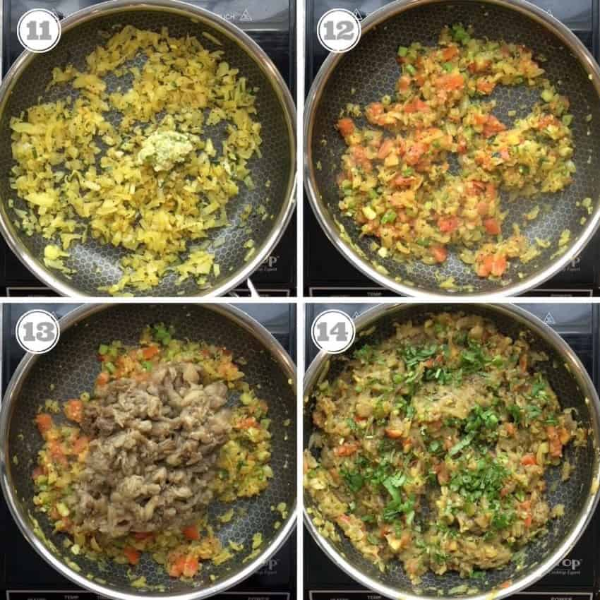Photos showing steps to make baingan bharta