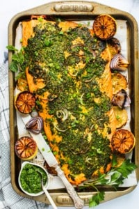 baked salmon on a tray