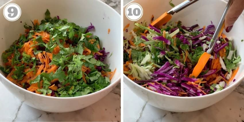 steps showing how to make cabbage slaw