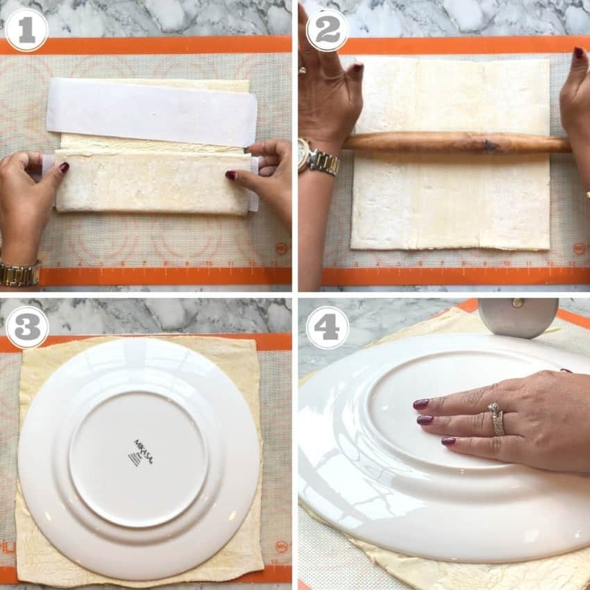 photos showing how to roll the puff pastry sheets