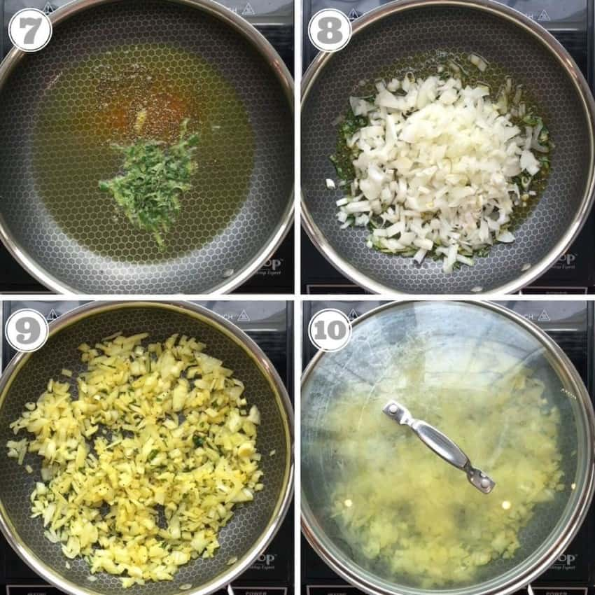 photos showing tempering and onions sautéing