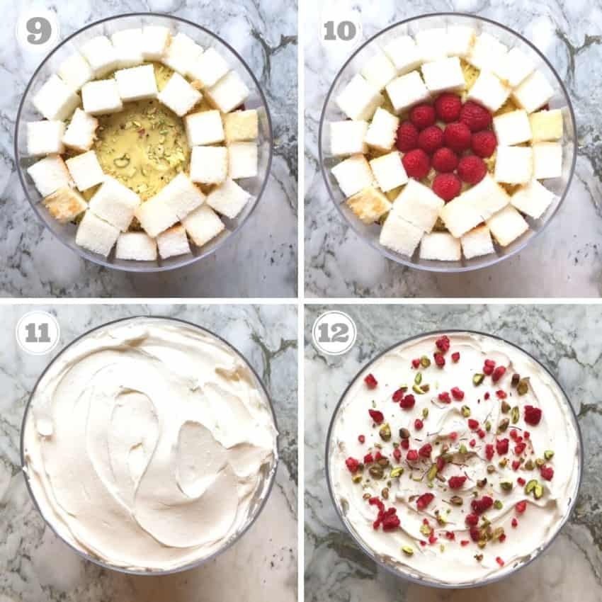 process shots showing assembling trifle