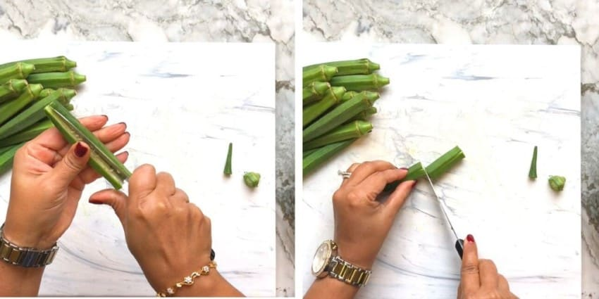photos showing how to prepare okra